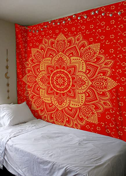 Madhu International Red Gold Ombre Tapestry Mandala Bohemian Throw Dorm Decor Hippie