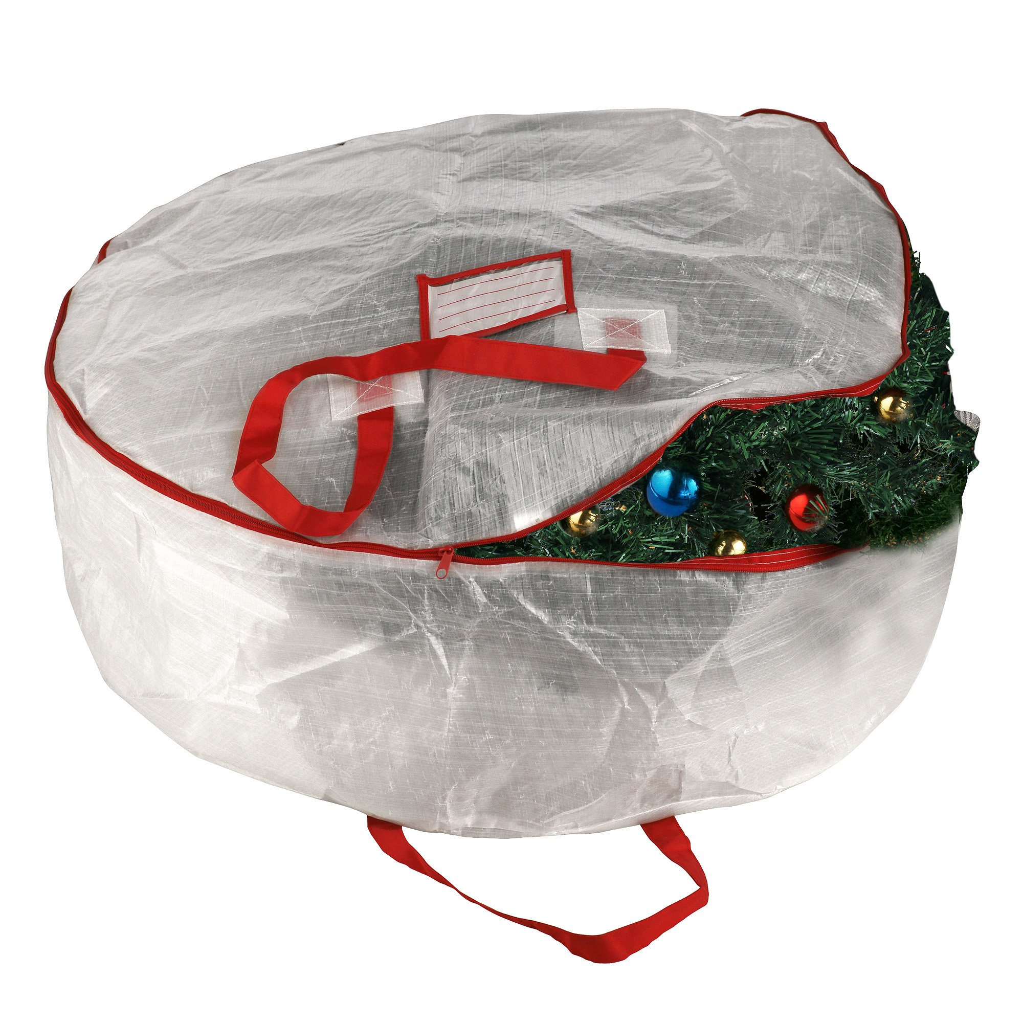 Elf Stor Deluxe White Holiday Christmas Wreath Storage Bag For 30'' Wreaths (30'' x 10'')
