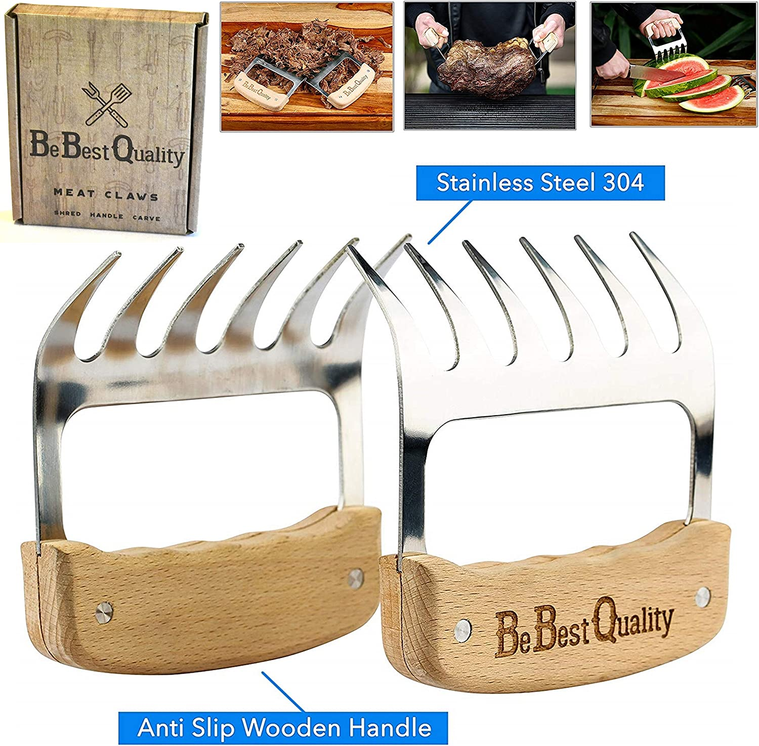 MCBInfinity Meat Claws Stainless Steel Shredders – Pull, Handle, Carve BBQ Pulled Pork, Brisket, Turkey – BPA-Free Metal Forks and Wooden No-Slip Grips for Grill, Smoker, Crockpot, 2 Bear Claws 912Bhhf26ouL