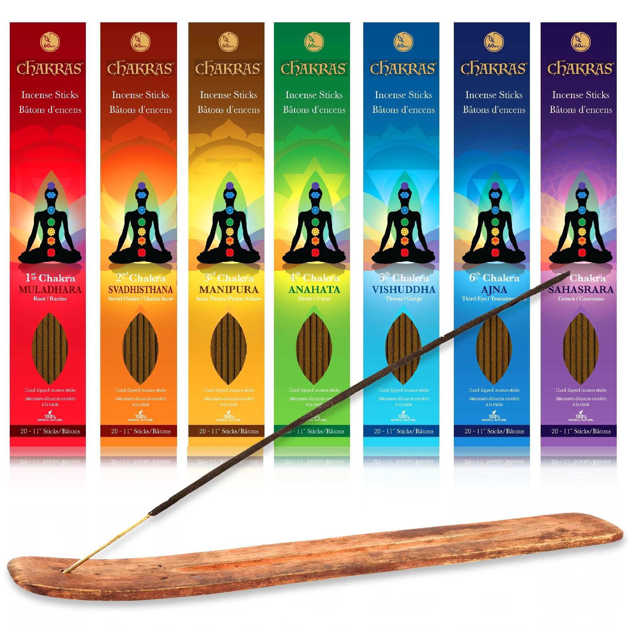 Incense - 7 Chakras Root To Crown Incense Set - 140 Sticks - Free Of Nasty Chemicals Like Charcoal And Other Accelerant- Fills The Room With The Perfect Aroma - 100% Natural - Lasts 60+ Minutes by Chakras Incense