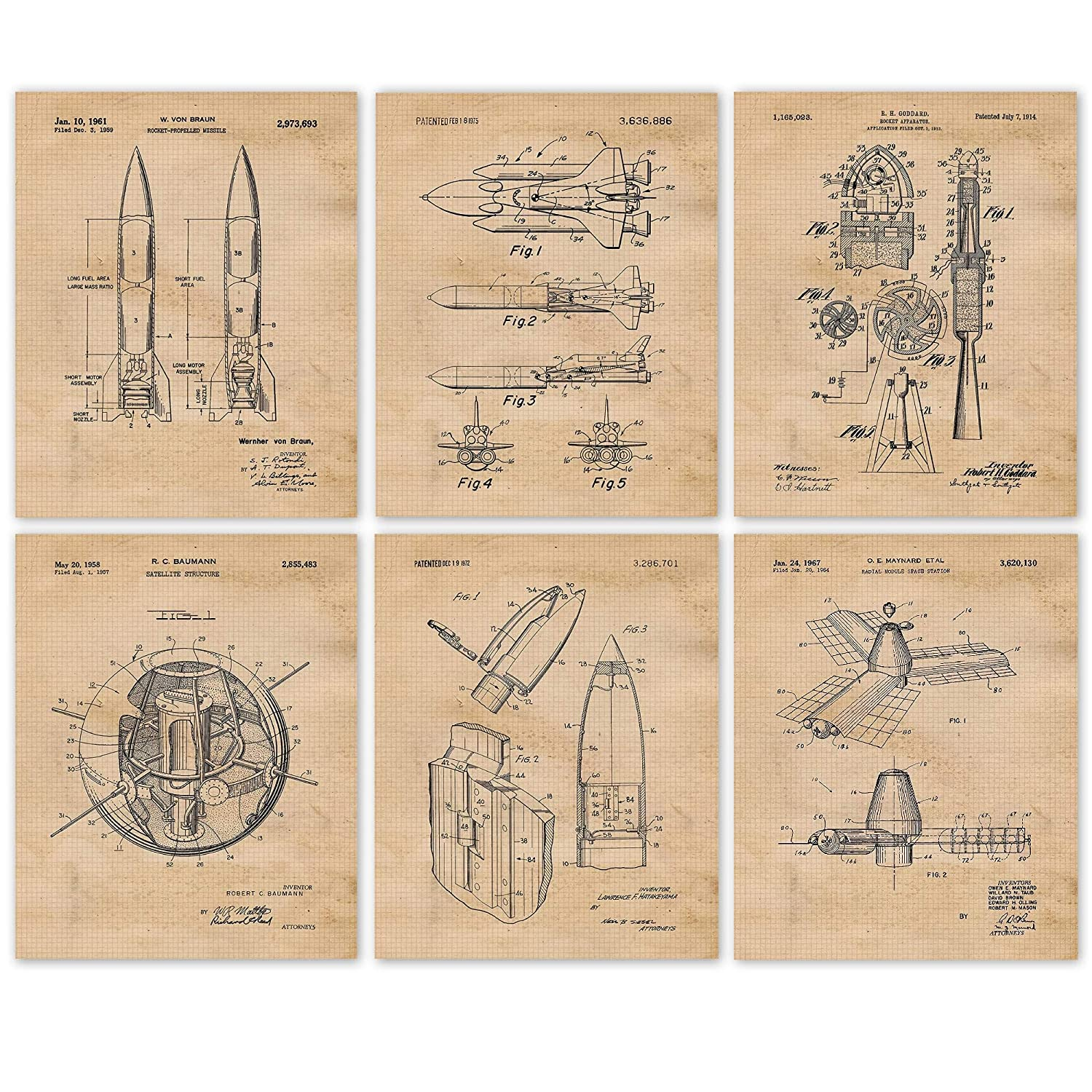Vintage NASA Space Exploration Patent Poster Prints, Set of 6 (8x10) Unframed Photos, Wall Art Decor Gifts Under 20 for Home, Office, Garage, Shop, Man Cave, College Student, Teacher, Aviation Fan
