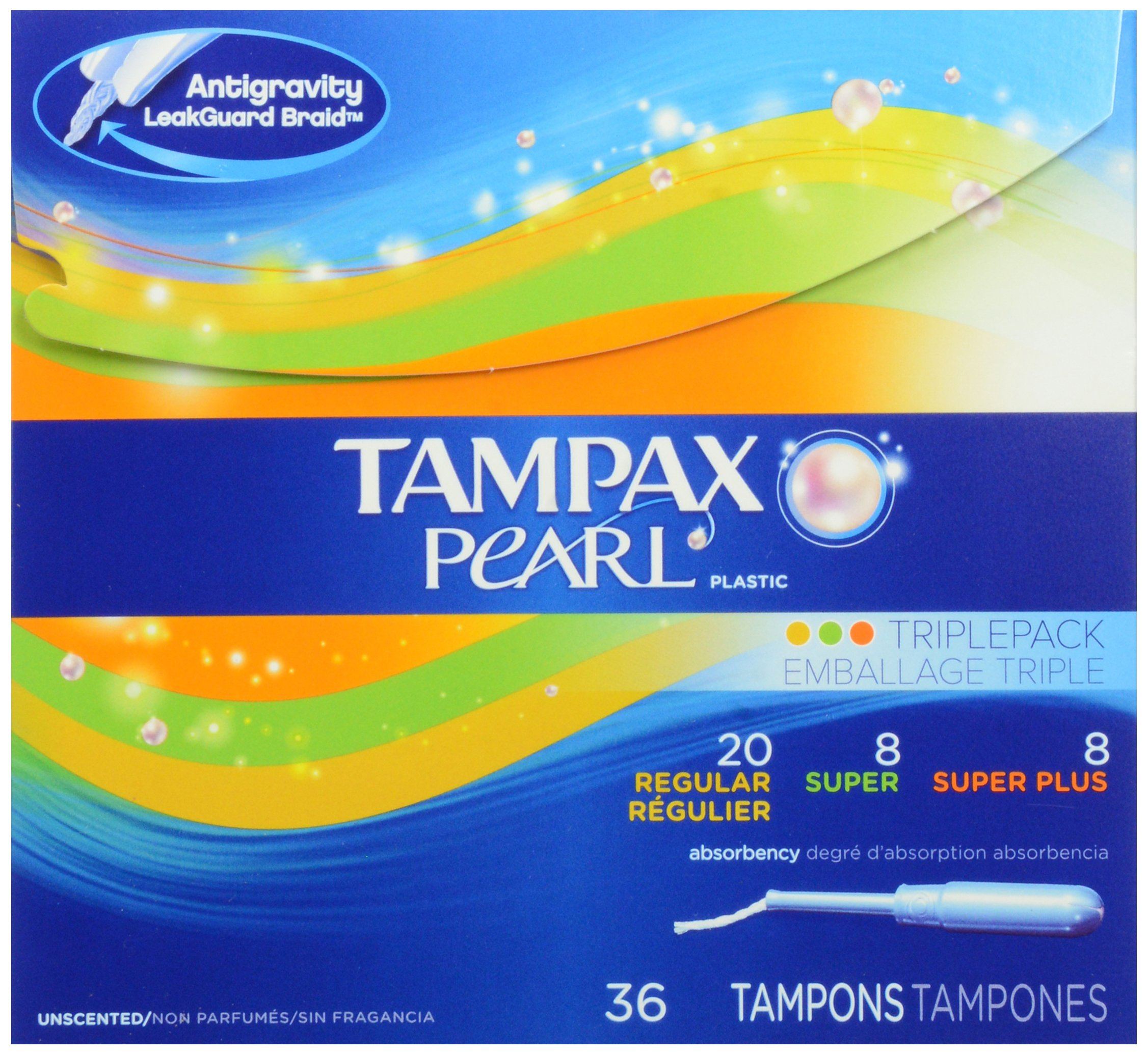 Tampax Pearl Plastic Triple Pack, Regular/Super/Super Plus Absorbency, Unscented Tampons, 36 Count (Pack of 2)