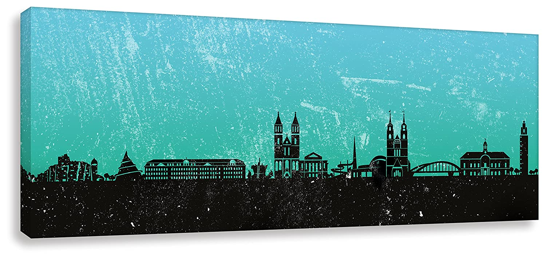 Kunstbruder Wandbild - Magdeburg Skyline - Türkis (Div. Grössen) 3D 4cm - Kunst Druck auf Leinwand Zimmerbild Loungebild Streetart Bild 40x120cm