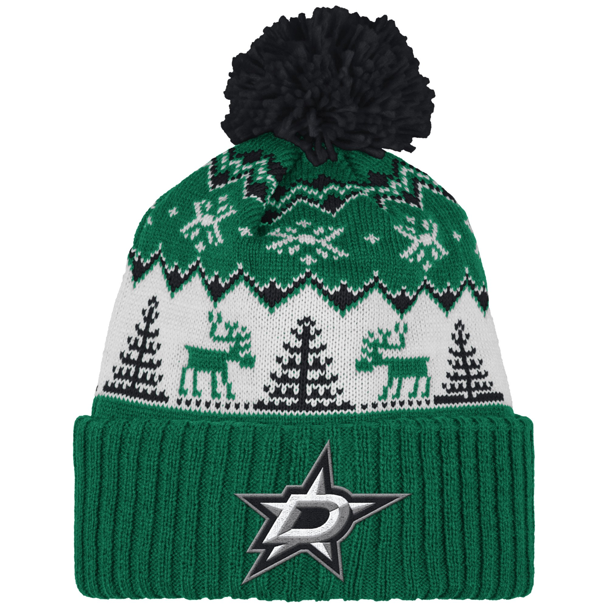 NHL Dallas Stars Reindeer Cuffed Pom Knit, One Size, Green