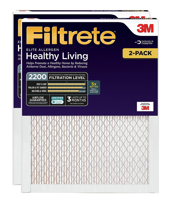 Filtrete 20x25x1, AC Furnace Air Filter, MPR 2200, Healthy Living Elite Allergen, 2-Pack