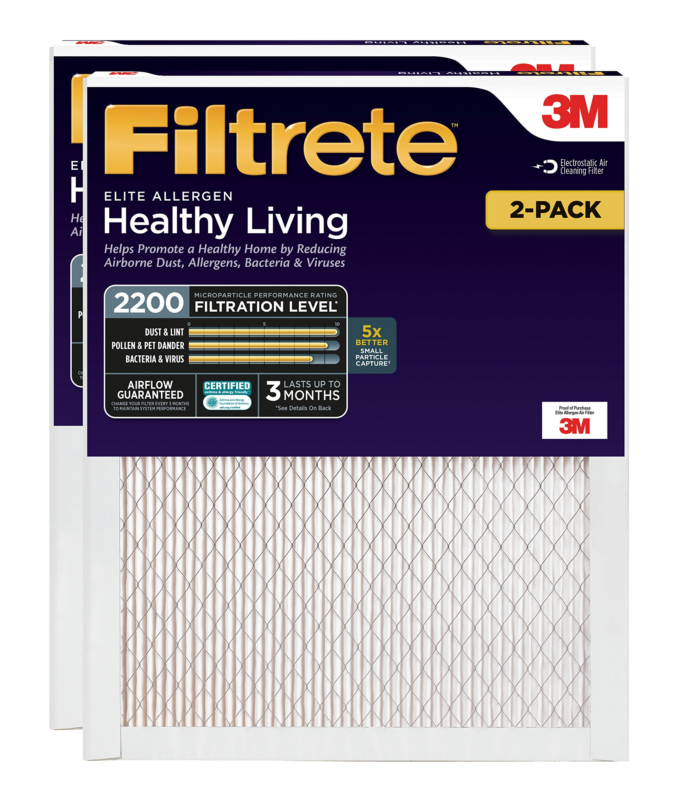 Filtrete MPR 2200 20 x 25 x 1 Healthy Living Elite Allergen Reduction AC Furnace Air Filter, 2-Pack