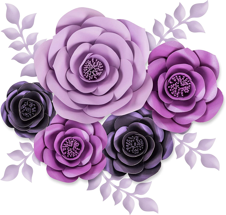 Rainbows & Lilies Large 3D Paper Flowers Decorations for Wall, Wedding, Bridal Shower, Baby Shower, Nursery Decor, Centerpieces, Flower Backdrop, Party, 10-pcs, Handmade & Assembled (Purple, Lavender)