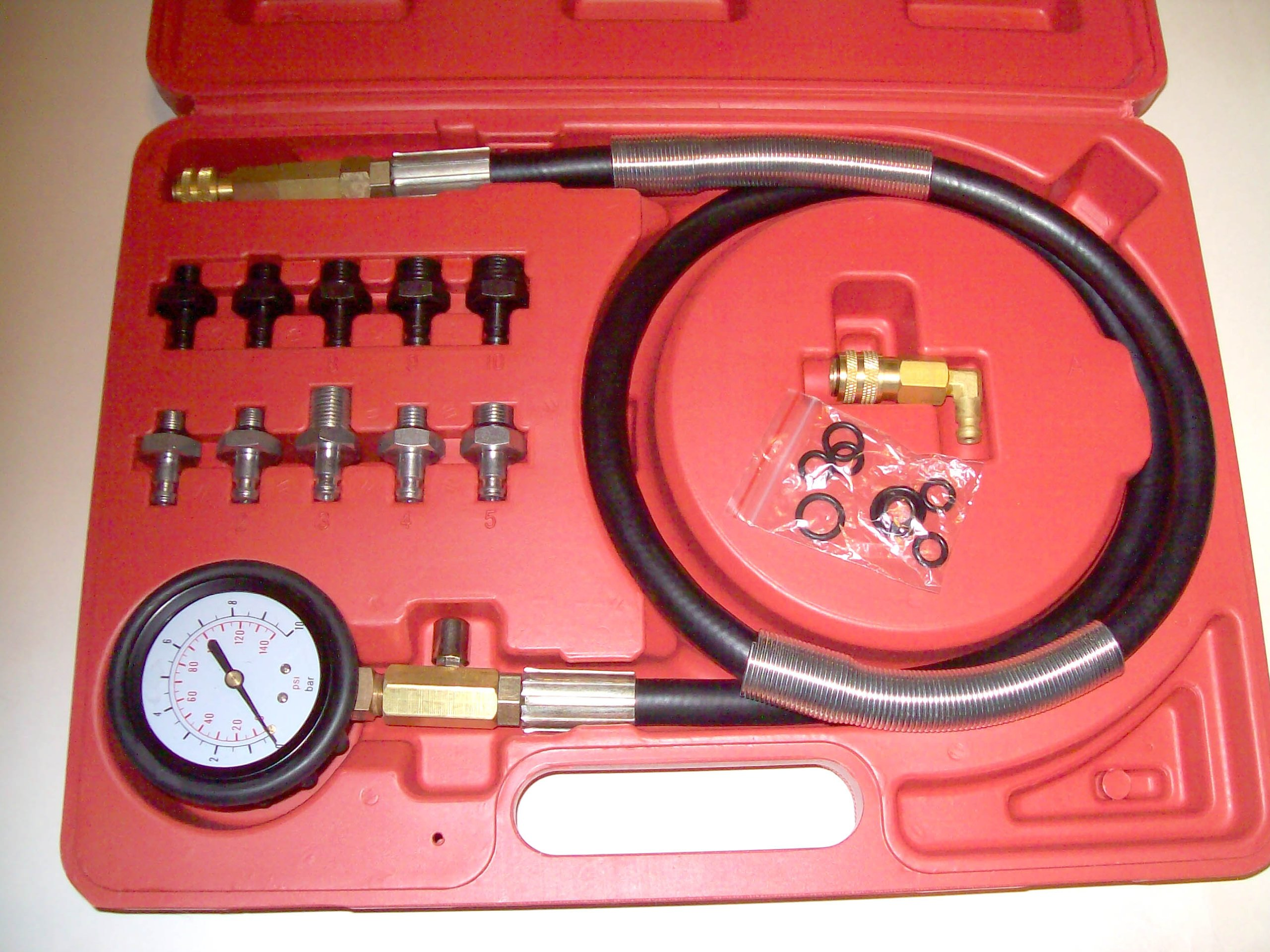 PMD Products 12 Pc Engine Oil Pressure Tester Gauge Diagnostic Test Kit w/ 10 Fittings 140 PSI