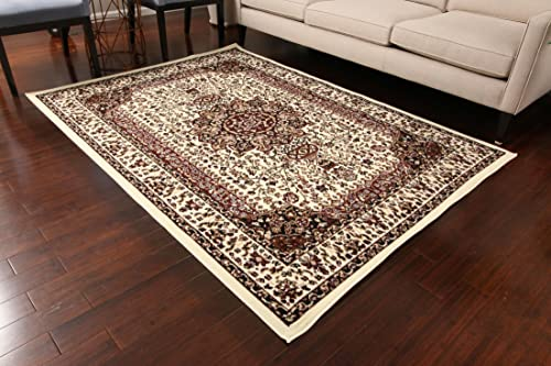 Generations New Ivory Oriental Traditional Isfahan Persian Area Rugs Rug 8050ivory 13 1 x 16