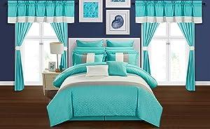 Chic Home Vixen 24 Piece Comforter Set, Queen, Turquoise