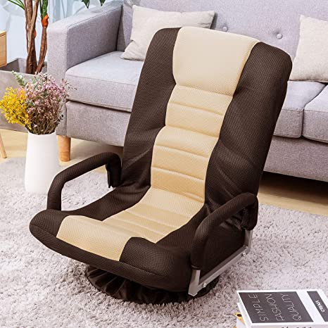 Floor Gaming Chair Adjustable 7-Position Swivel Chair Folding Sofa Lounger (Brown+Beige)