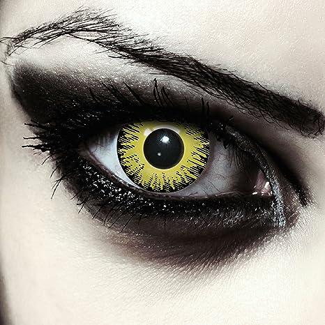 Lentilles de couleur jaune sans correction pour halloween exorciste costume  ou Cosplay + Récipient gratuit - 248a42c189a7