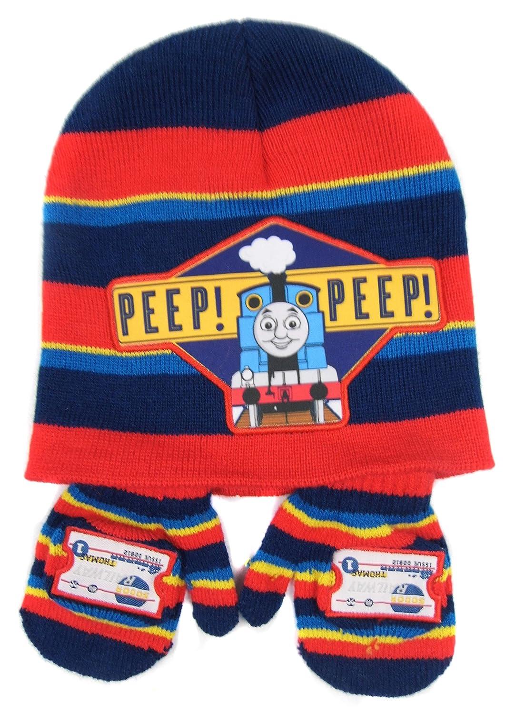 Thomas the Tank Engine Stripey Hat and Mitten set 'Peep Peep' 6-23 months