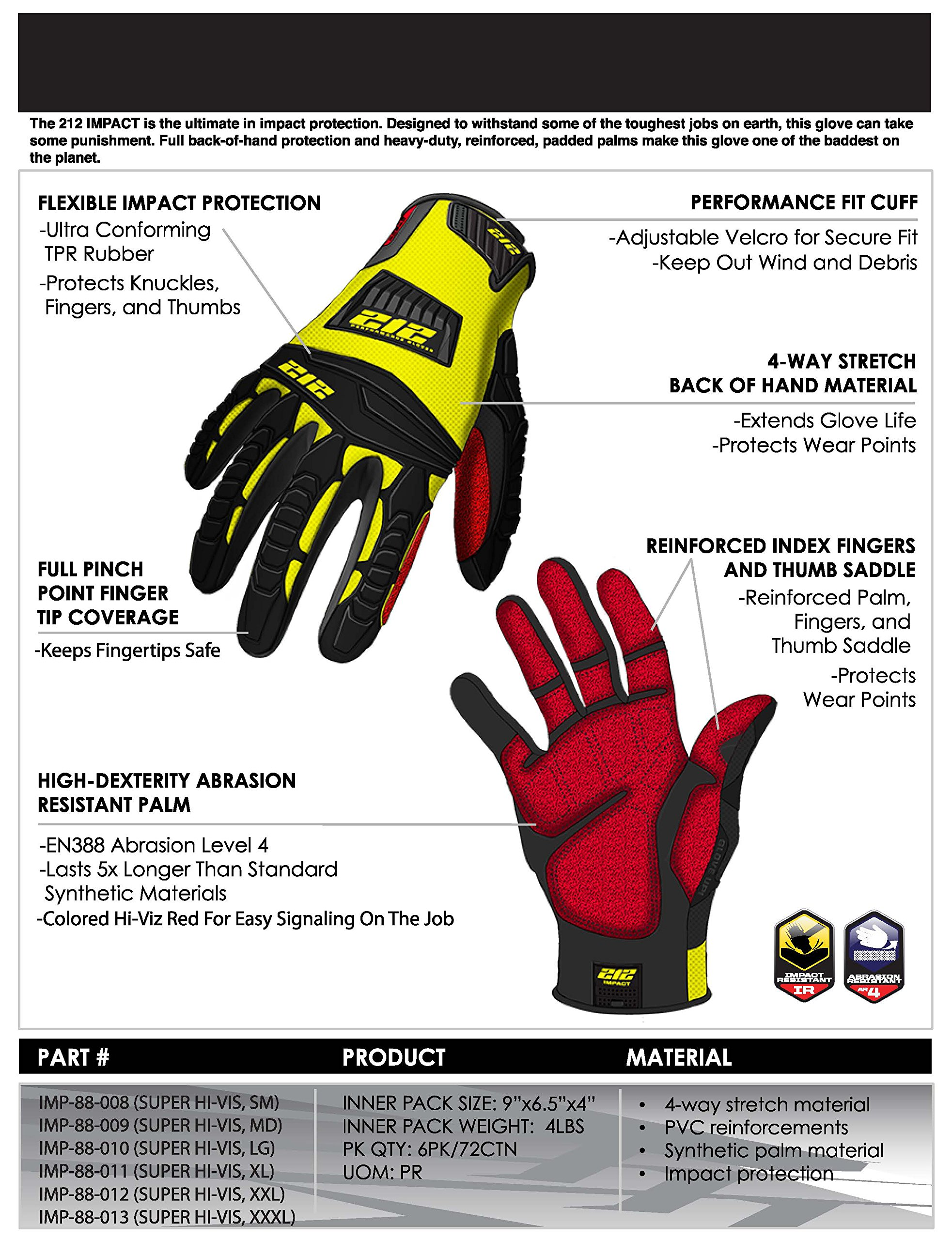 212 Performance Gloves IMP-88-009 Super Hi-Vis Impact Gloves, Medium by 212 Performance Gloves (Image #8)