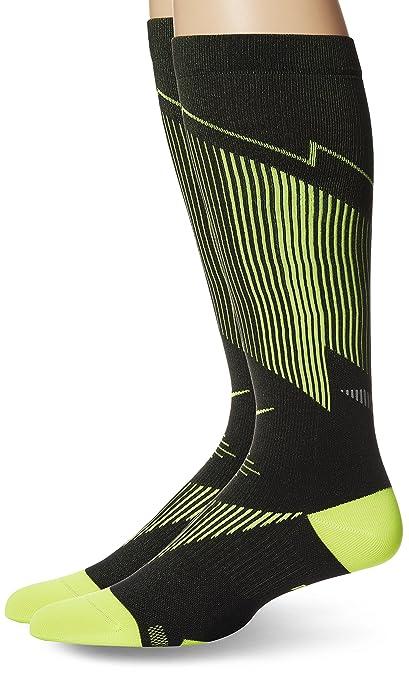8376a30c95cdc NIKE Elite Graduated Compression OTC Running Socks, Black/Yellow, 6-7.5