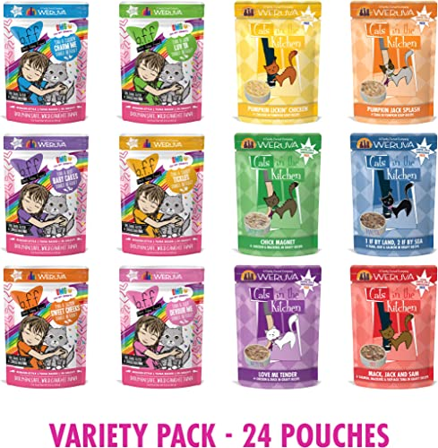 Weruva B.F.F OMG Rainbow Gogo Variety 12 Pack and Cat in The Kitchen Pantry Party Pouch Variety 12 Pack 24 Total