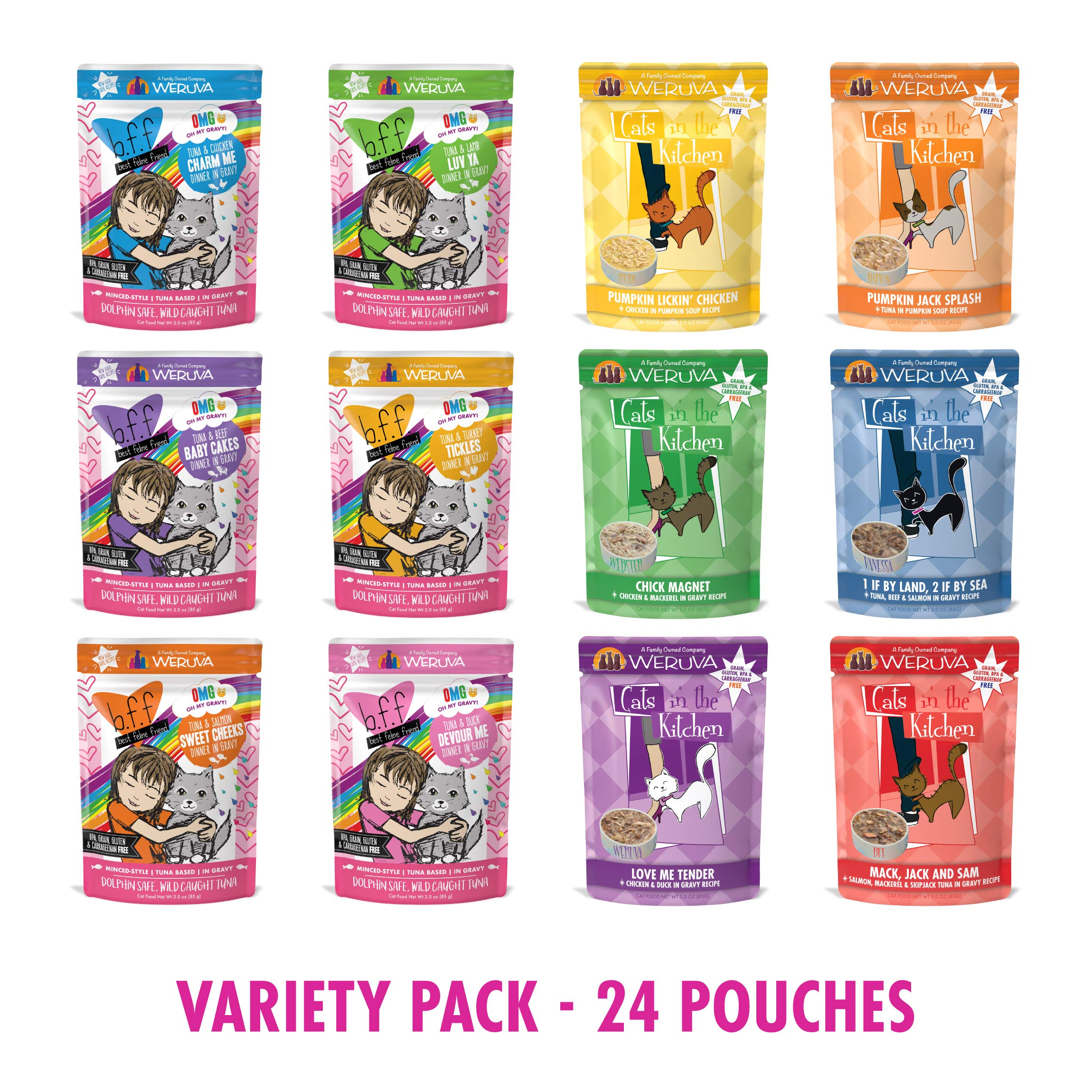 Weruva B.F.F OMG Rainbow Á Gogo Variety 12 Pack and Cat in The Kitchen Pantry Party Pouch Variety 12 Pack (24 Total) by Weruva