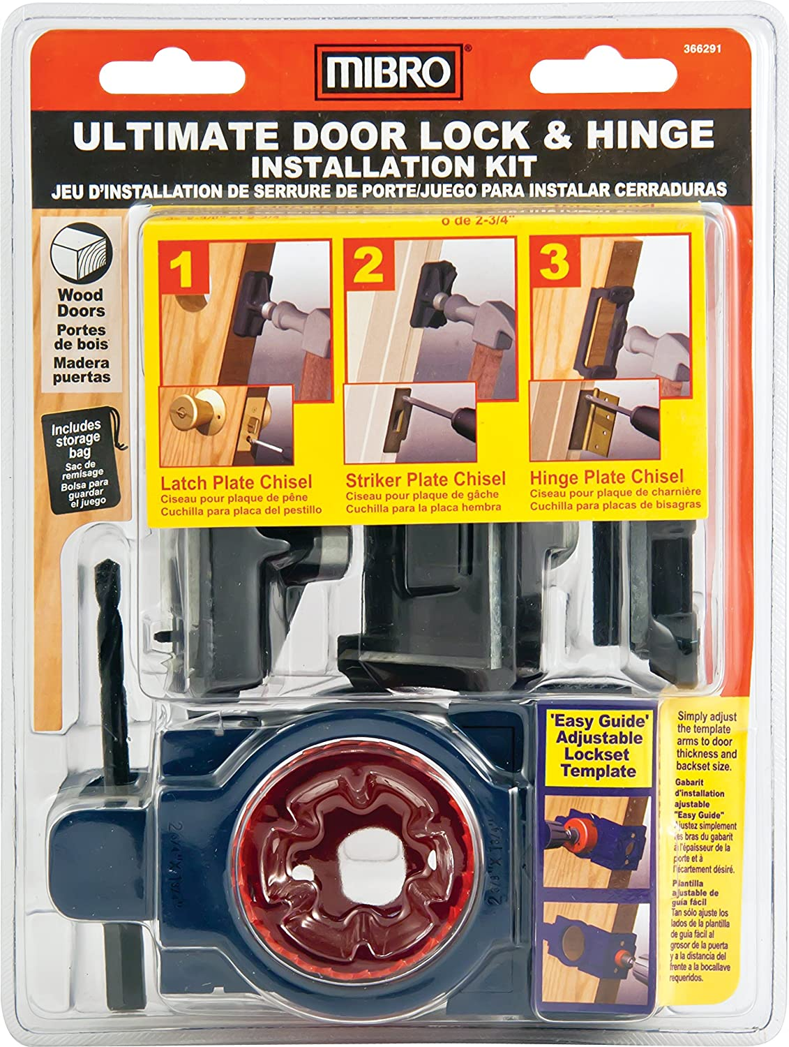 MIBRO 366291 Ultimate Door Lock and Hinge Installation Kit for Wood Doors - Doorjamb And Hinge Templates - Amazon.com