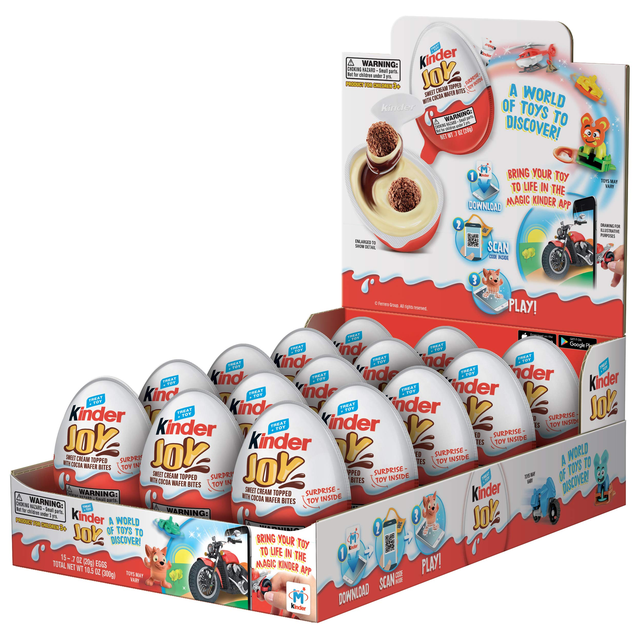 Kinder JOY Eggs, 15 Count Individually Wrapped Chocolate Candy Easter Eggs With Toys Inside, Perfect Easter Basket Stuffers for Kids, 10.5 oz; PACKAGING MAY VARY