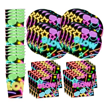 Glow Light Neon Birthday Party Supplies Set Plates Napkins Cups Tableware Kit for 16  sc 1 st  Amazon.com & Amazon.com: Glow Light Neon Birthday Party Supplies Set Plates ...