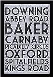 "Amazon Brand – Stone & Beam Modern Black & White London Street London Street Names Print, Black Frame, 12"" x 17"""