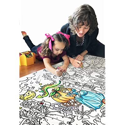 """Giant 5ft Wall Size Coloring Poster 60"""" by 30"""" Huge Scene, Markers, Crayon or Paint, Quality Family Time, Birthday Party, Crafts, Events, Fun for All Ages (Fairy Tales): Toys & Games"""