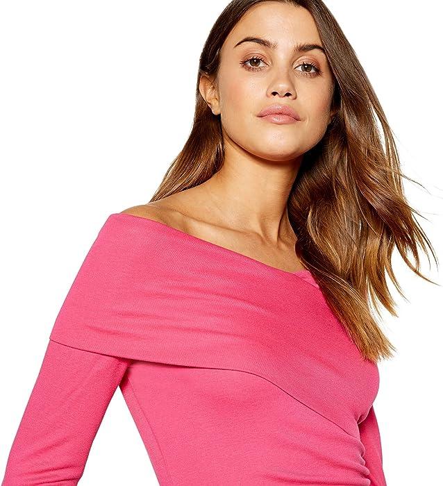 57c4e1ec762fa J by Jasper Conran Womens Bright Pink Wrap Over Bardot Neck Long Sleeve Top