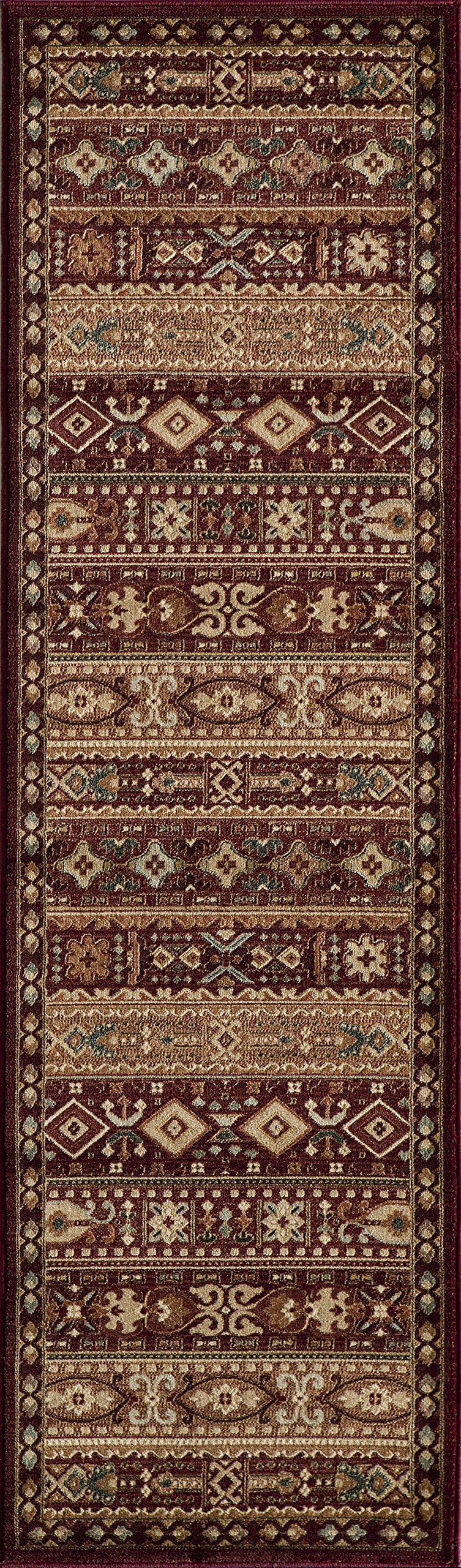 Momeni Rugs BELMOBE-04RED2376 Belmont Collection, Traditional Area Rug, 2'3'' x 7'6'' Runner, Red