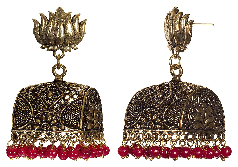 DESI HAWKER Golden Oxidized Earring Bali Jhumki Jhumka Jewelry Bollywood Drop Dangle Pushback Big Chandelier Lotus Doli NI-58