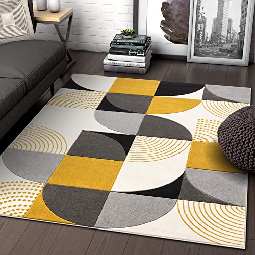 Well Woven Maggie Gold Modern Geometric Dots Boxes Pattern Area Rug 5×7 5 3 x 7 3