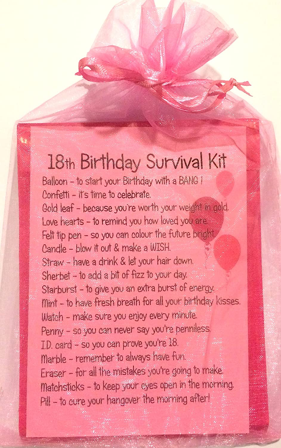 18th BIRTHDAY SURVIVAL KIT PINK GIFT CARD PRESENT: Amazon.co.uk ...