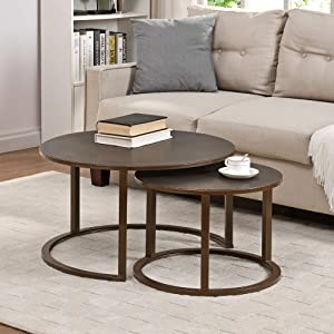 FirsTime & Co. Bronze Hayes Nesting Coffee Table 2-Piece Set, American Designed, Bronze, 27.5 x 27.5 x 16 inches (70266)