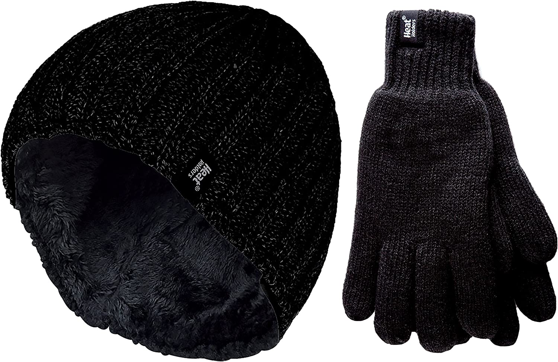 HEAT HOLDERS Herren winter warm fleece handschuhe und beanie m/ütze in 4 farben