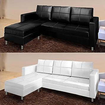 Divano angolare moderno ecopelle con pouf sofa soggiorno bianco ...