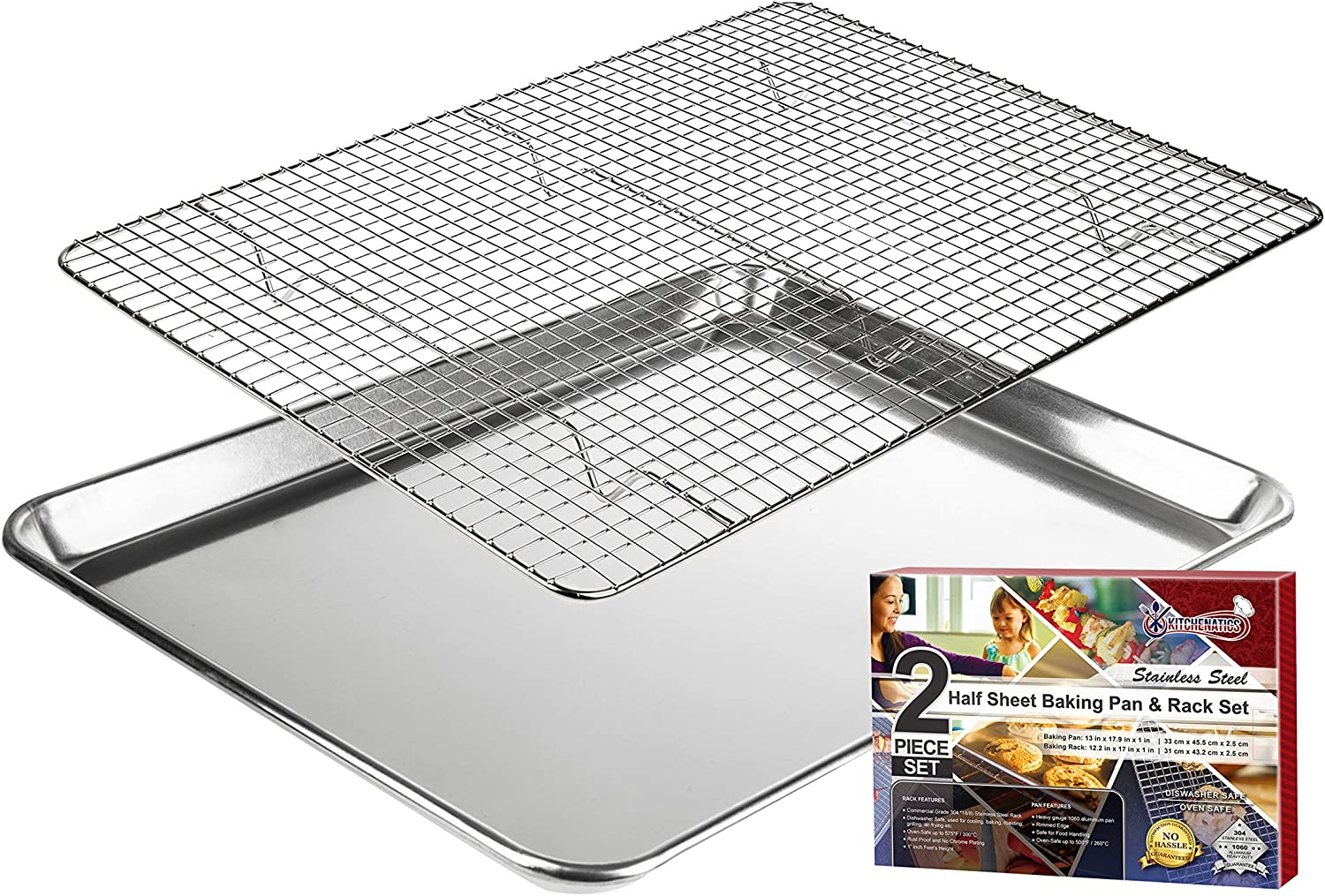 "KITCHENATICS Aluminum Baking Pan with 304 Stainless Steel Cooling Rack, Half Sheet Cookie Tray Pan with Rack for Cooking, Roasting, Grilling, BBQ - 13.1 X 17.9"" - Heavy Duty, Commercial Quality"