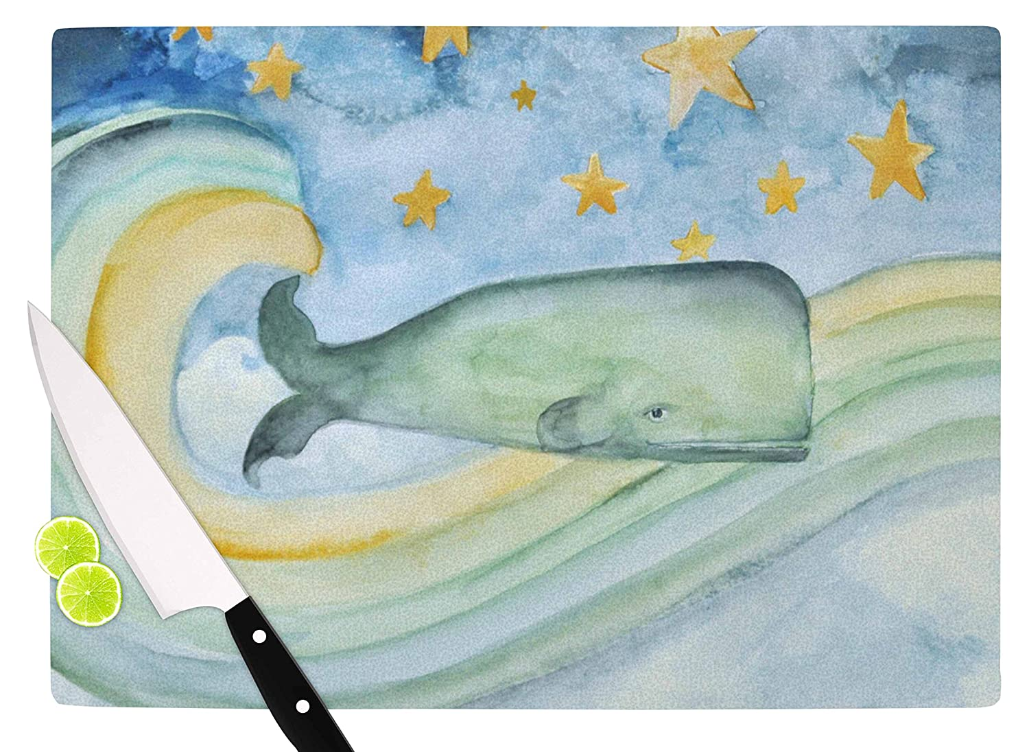 Multicolor KESS InHouse JR1001ACB01 Jennifer RizzoSwimming WIth The Stars Illustration Animals Cutting Board 11.5 x 8.25