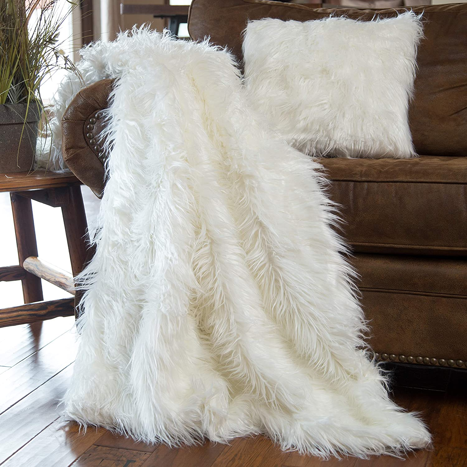 North End Decor Faux Fur Pillow & Blanket, Mongolian Long Hair White Throw Pillows, Blanket and Stuffed