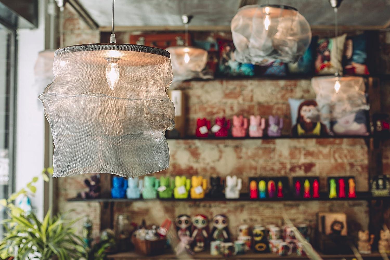 lámpara de techo fabricada con malla metálica lámpara estilo ...