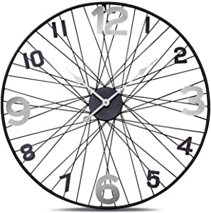 WHW Whole House Worlds Tour de France Bicycle Wheel Clock, Analog, Wall Mounted, Hand Crafted of Stainless Steel, Iron, Over 2 Ft Diameter (27.5 Inches) 1 AA Battery (Not Included)