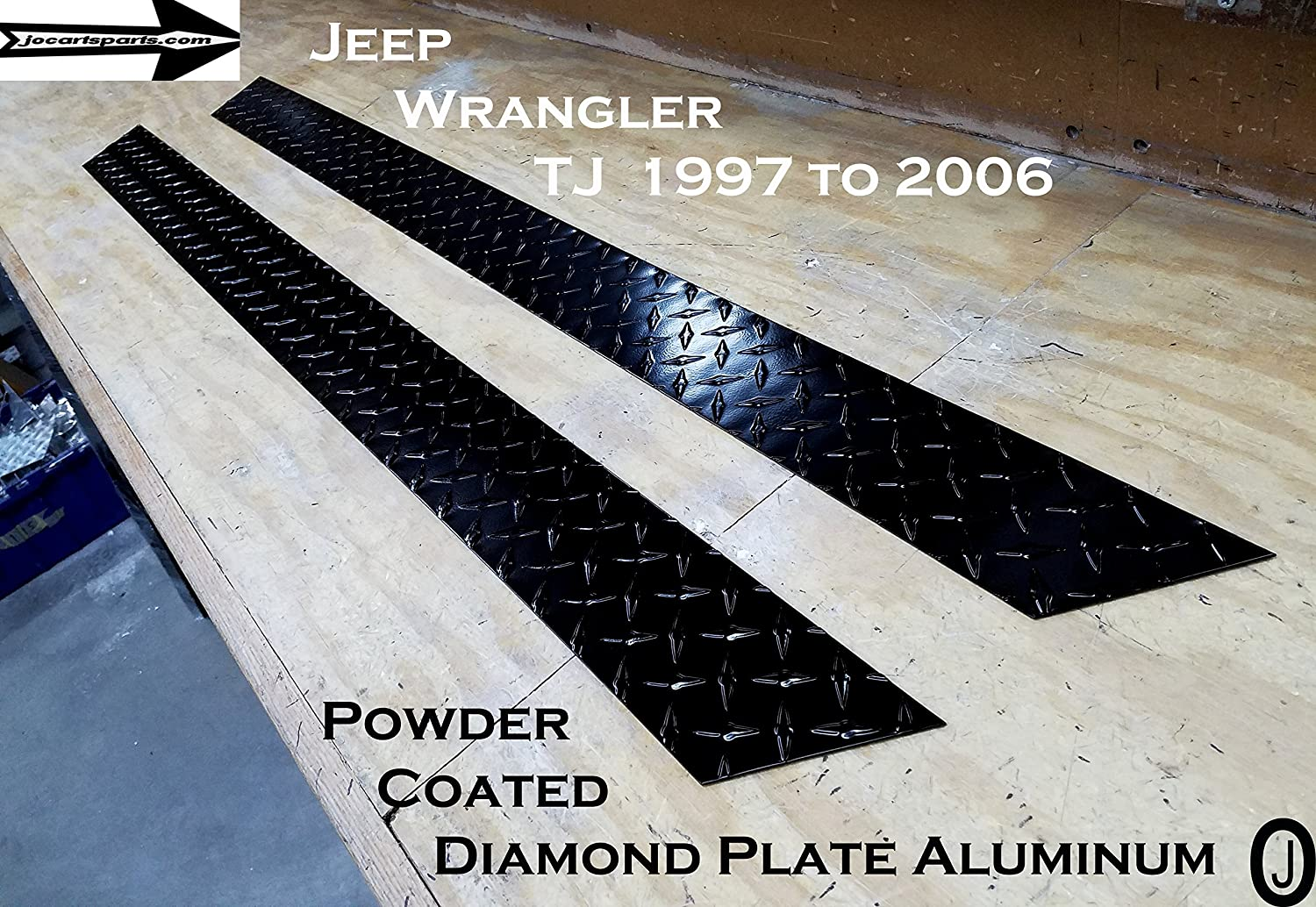J /& O Carts Parts Jeep Wrangler TJ 3.5 Tall Rocker Panels Black Powder Coated Aluminum Diamond Plate