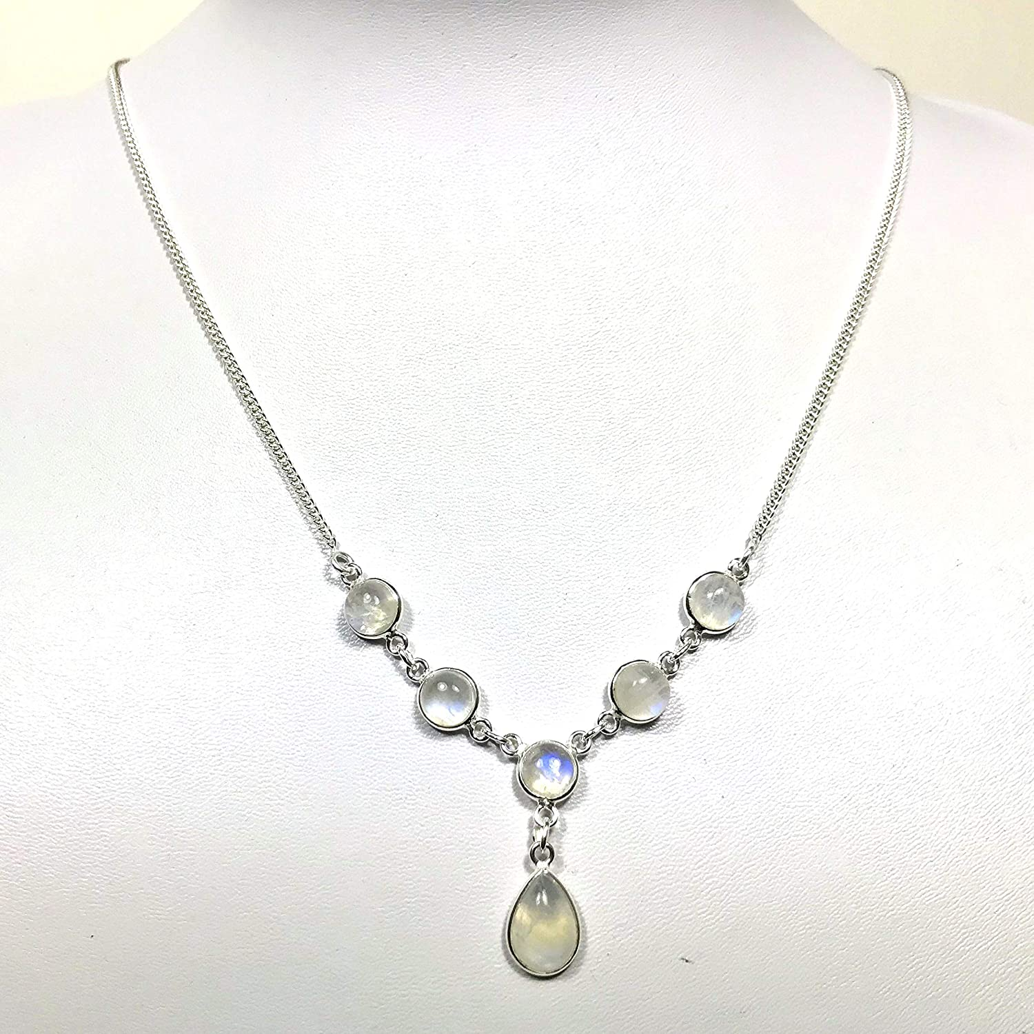 Rainbow moonstone and sterling silver Sterling silver necklace with Rainbow moonstone pendant Rainbow moonstone bezel pendant necklace