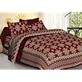 Jaipuri Bedspreads Cotton Double Bedsheet with 2 Pillow Covers (Queen Size, Maroon)