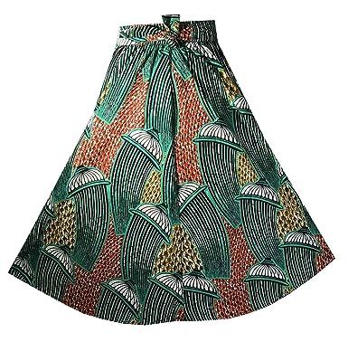 4671de312e5 Decoraapparel Women s African Dashiki Maxi Skirt Long High Waist Skirt One  Size (P01 Teal Green