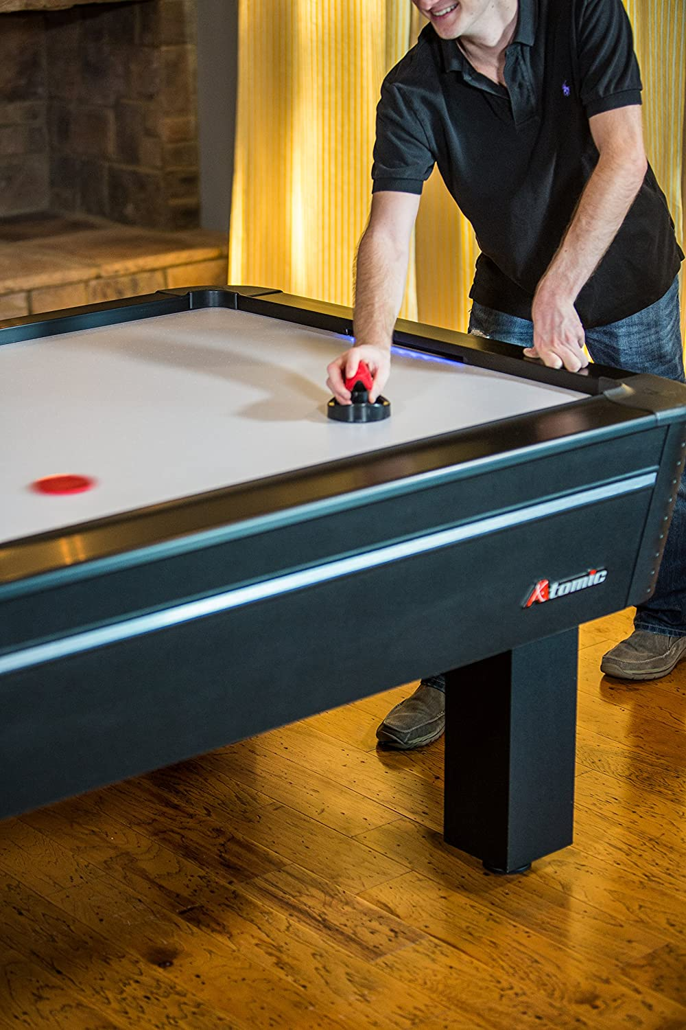 Atomic 8' Air Hockey Table with High-powered Blower with Advanced Air-flow System, LED Scoreboard, Goal Lights and Puck Return and Super-slick Playfield to Resist Scuffing : Air Hockey Equipment : Sports & Outdoors