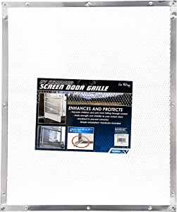Camco 43981 Aluminum Screen Door Standard Mesh Grille - Protects Your RV's Screen Door, Anodized Aluminum Will Not Corrode