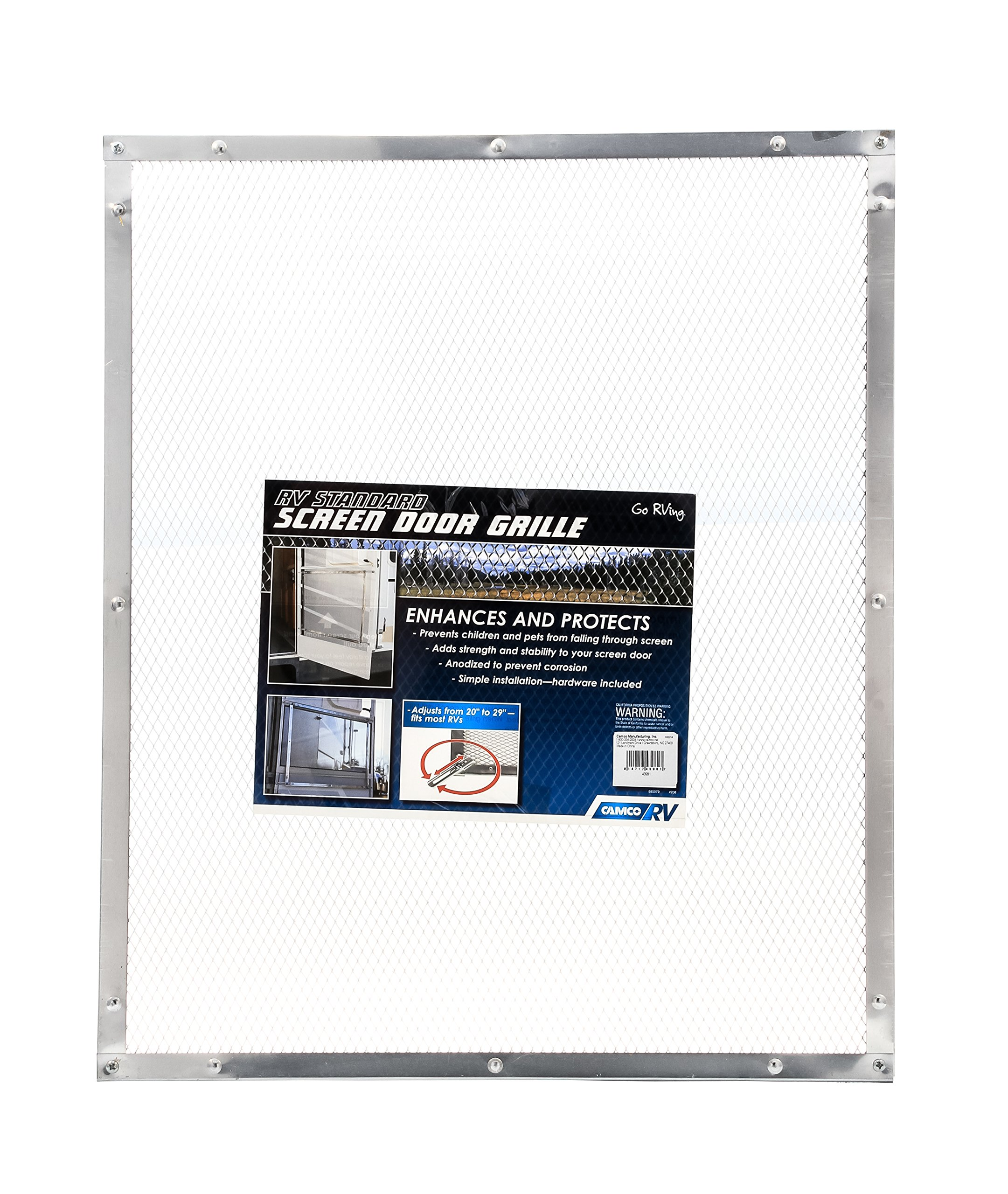 Camco 43981 Aluminum Screen Door Standard Mesh Grille - Protects Your RV's Screen Door, Anodized Aluminum Will Not Corrode by Camco (Image #1)