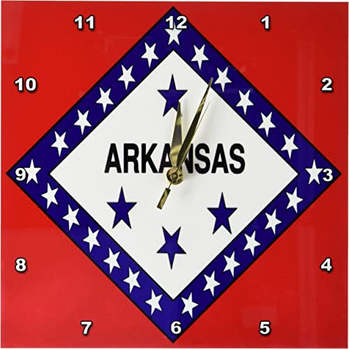 3dRose DPP_45058_1 State Flag of Arkansas Wall Clock, 10 by 10-Inch