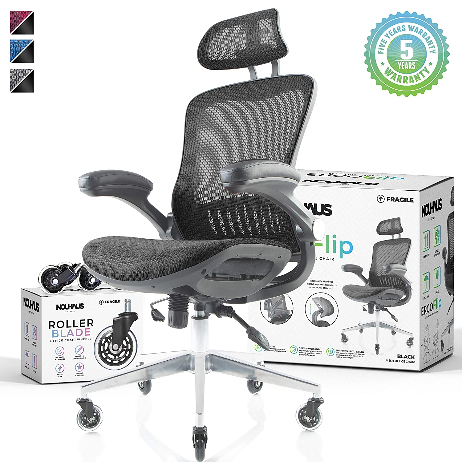 NOUHAUS Ergo Flip! Mesh Computer Chair - Black Rolling Desk Chair with Retractable Armrest and Bonus Blade Wheels! Ergonomic Office Chair, Gaming Chairs, Executive Swivel Chair, Reinforced Base