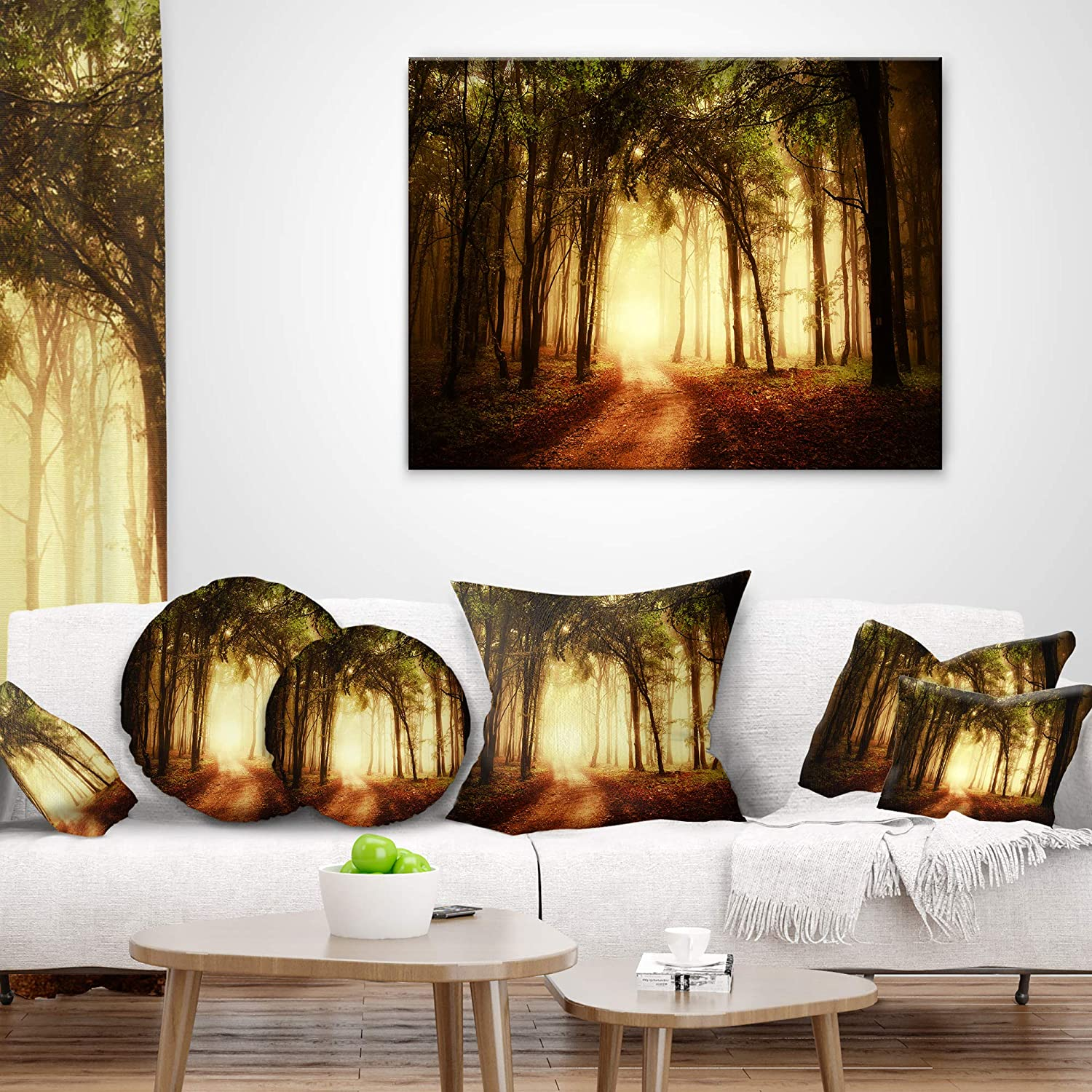 20 Round Designart Cu9791 20 20 C Golden Forest In Fall Morning Landscape Photography Throw Cushion Pillow Cover For Living Room Sofa Bedding Decorative Pillows Inserts Covers