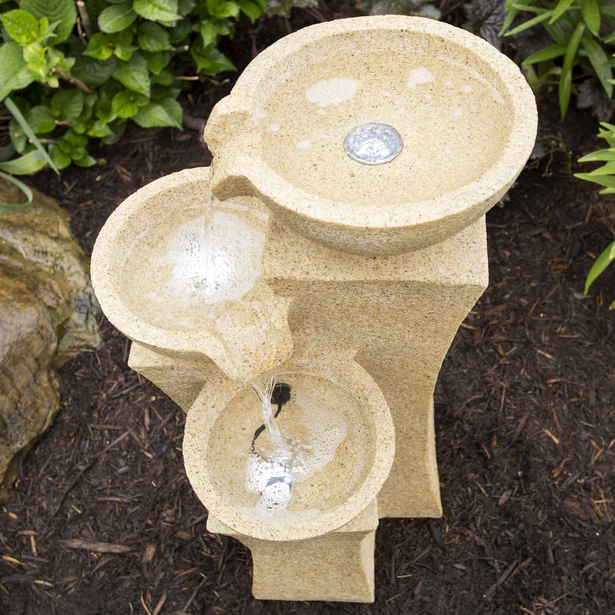 Outdoor Water Fountain With LED Lights- Lighted Pots Fountain with Cascading Bowls and Soothing Sound for Patio, Lawn and Garden Décor By Pure Garden by Pure Garden (Image #4)